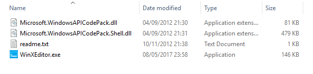 Win X Menu Editor files