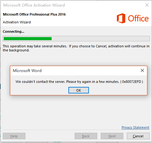 MS Office 365 Professional activation fails