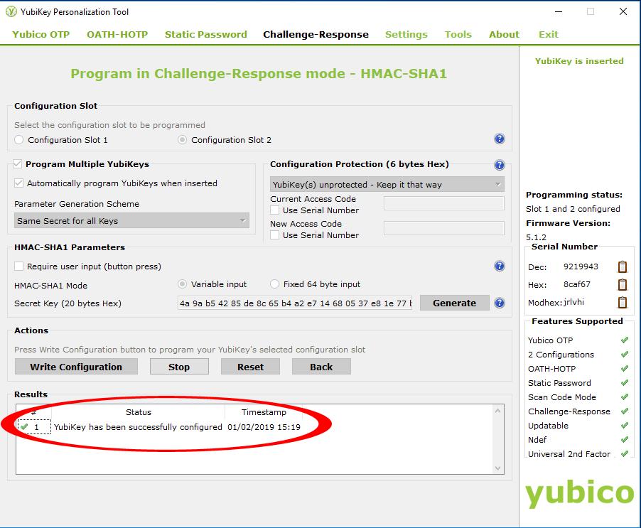 Configuring Yubikey 6