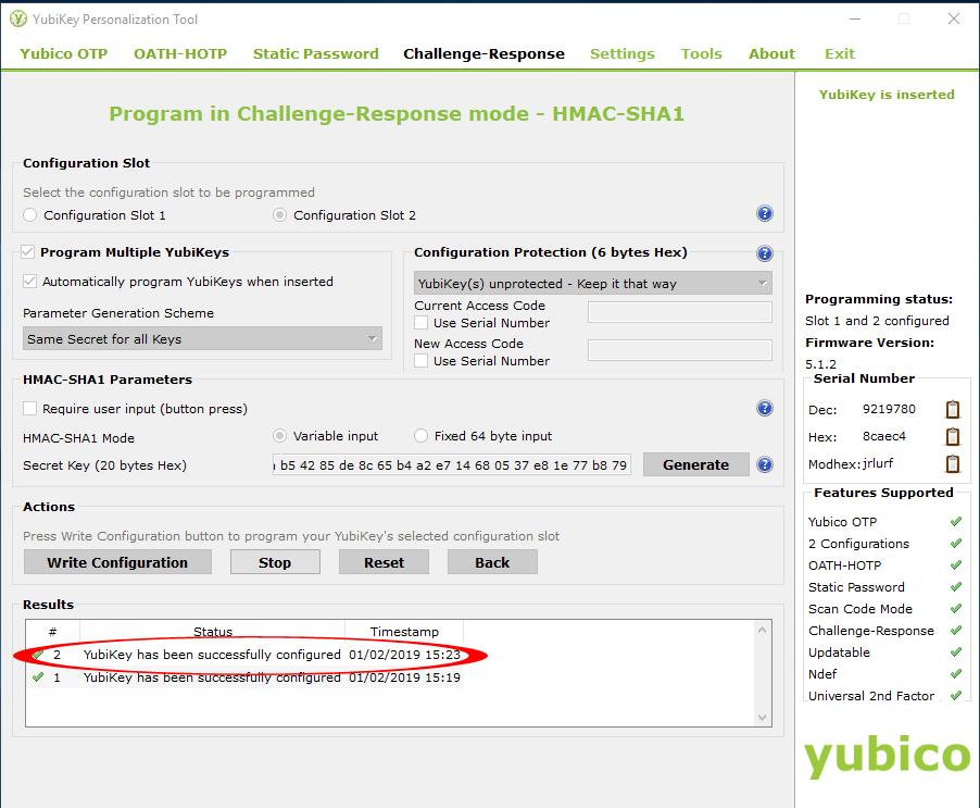 Configuring Yubikey 7
