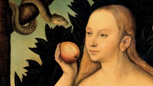 Eve tempted by the serpent to eat the apple